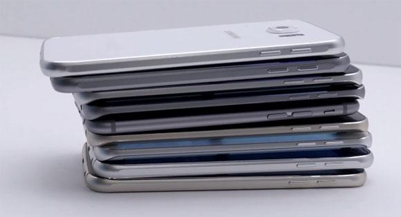 iPhone 6 en medio de muchos Galaxy S6