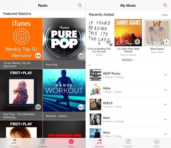 App de Música de iOS 8.4