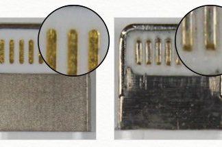 Conector Lightning original y falso