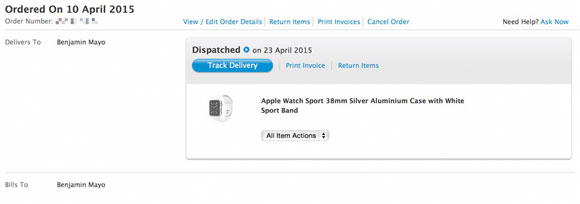 Envío del Apple Watch