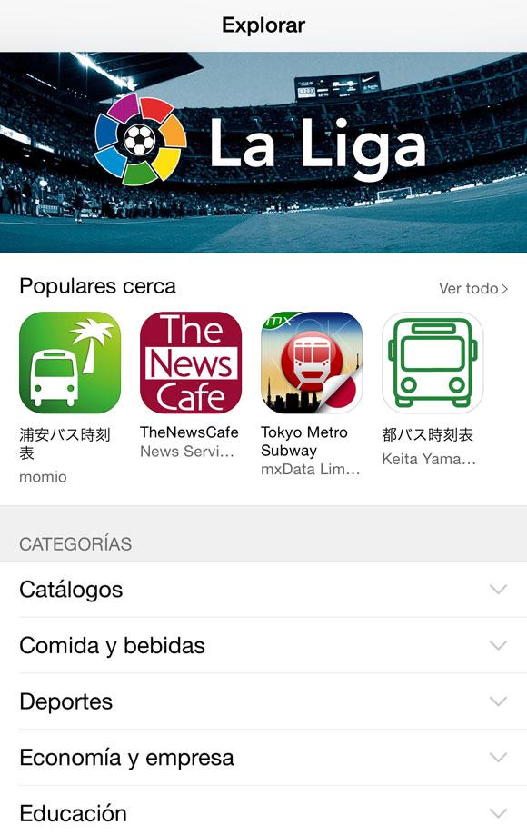 Opción Explorar en la App Store