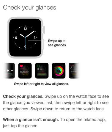 Información sobre los Glances del Apple Watch