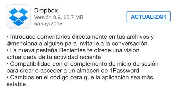 Actualización de Dropbox