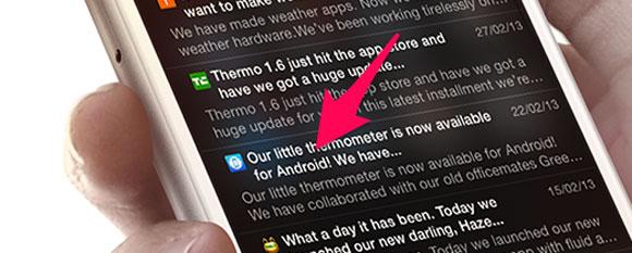 Android en una captura de pantalla de una App de iOS