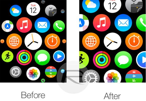 Antes y después de Reduce Motion en el Apple Watch