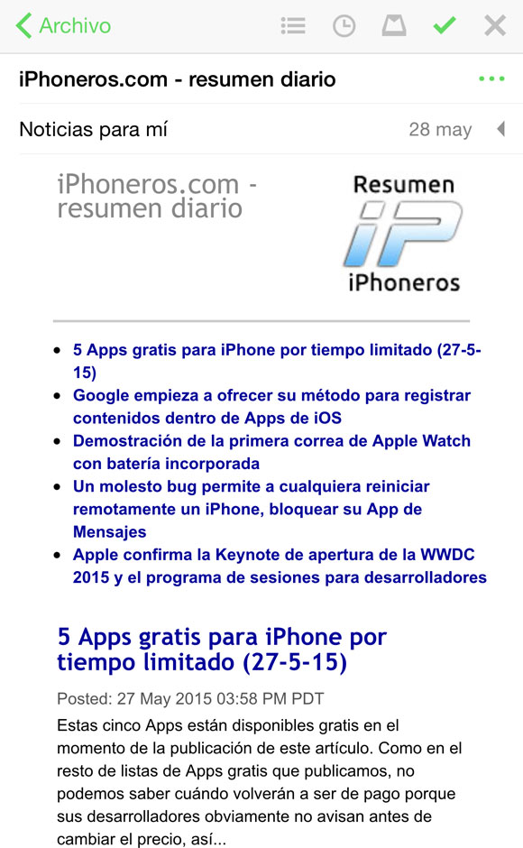 Email diario de iPhoneros
