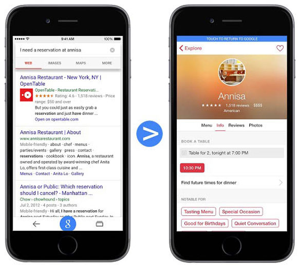 Resultados de búsqueda directos a partes de Apps