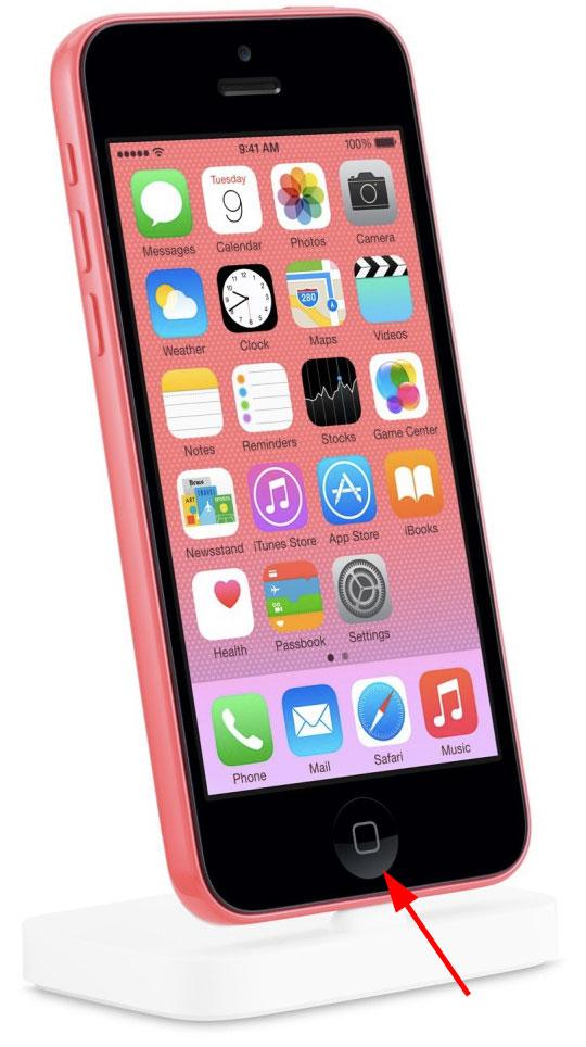 iPhone 5C con el botón Home corregido