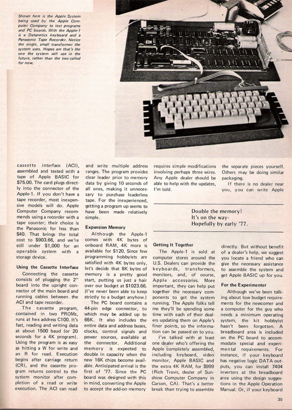 Primer artículo de Apple