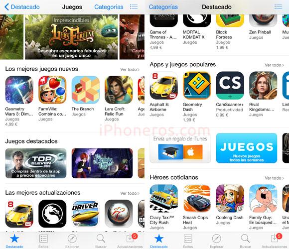 App Store categoría Juegos