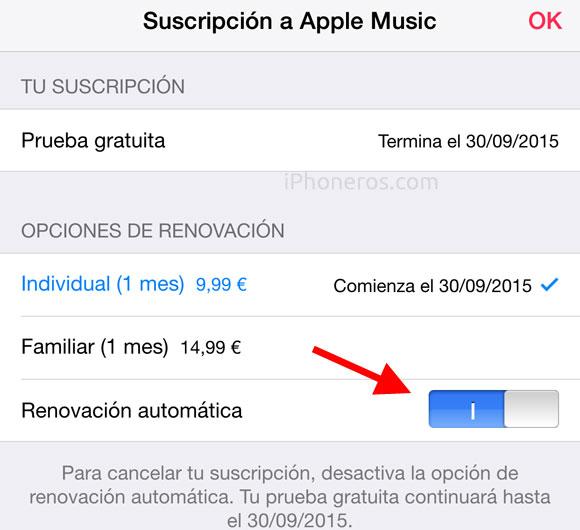 Cancelar suscripción a Apple Music