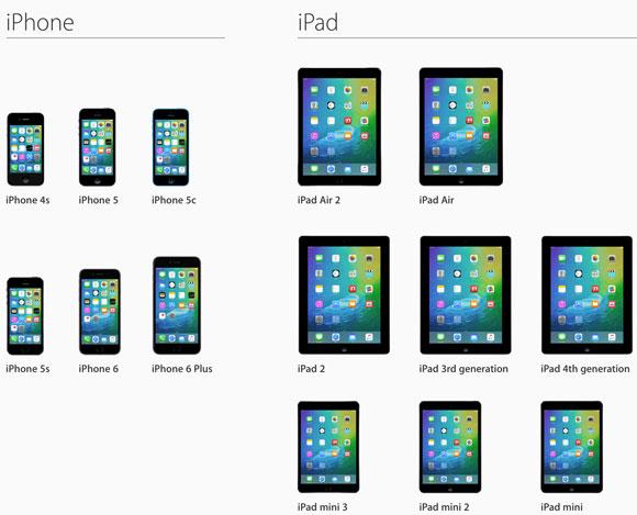 Máquinas compatibles con iOS 9