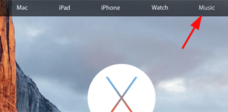 Solapa de Música en la web de Apple