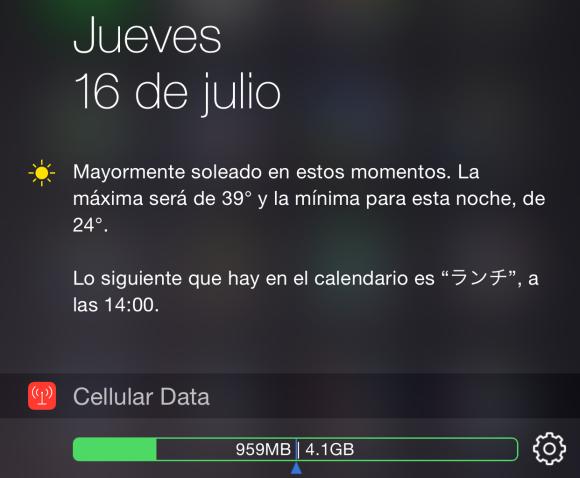 Widget de datos celulares