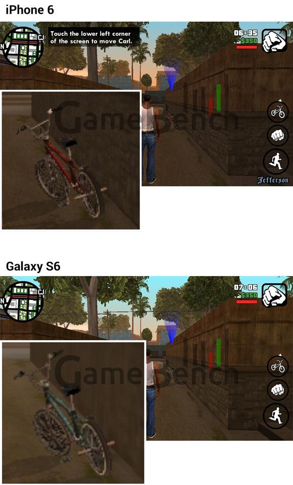 Comparación de GTA entre el iPhone 6 y el Galaxy S6