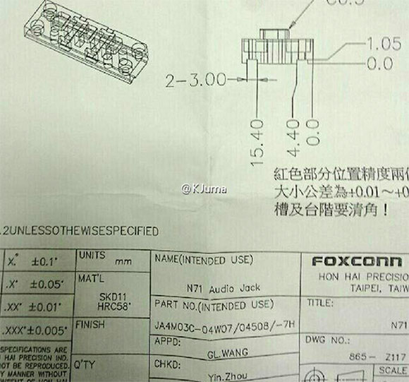 Supuesto documento de Foxconn