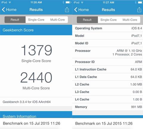 GeekBench del nuevo iPod touch de sexta generación