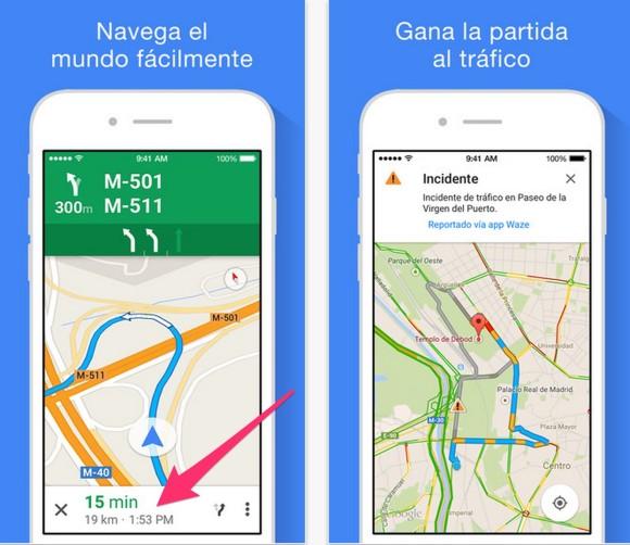 Google Maps indica la hora de llegada