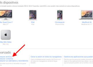 Opciones de restauración de iCloud