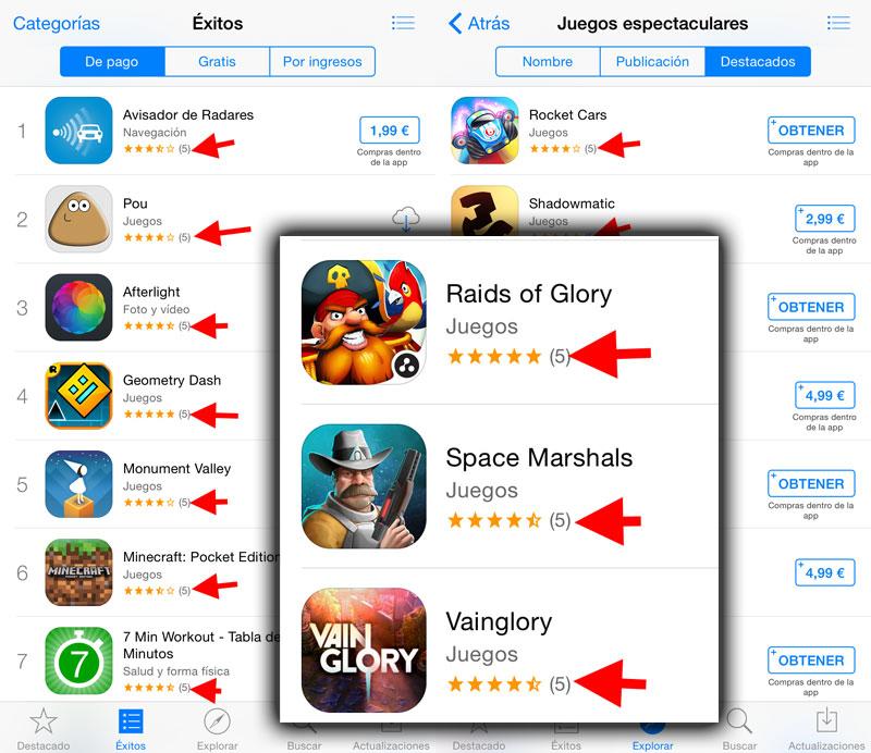 Cinco reseñas en la App Store