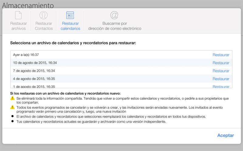 Recuperación de calendarios en iCloud.com