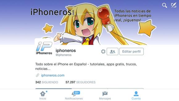App de Twitter en modo horizontal en el iPhone 6 Plus
