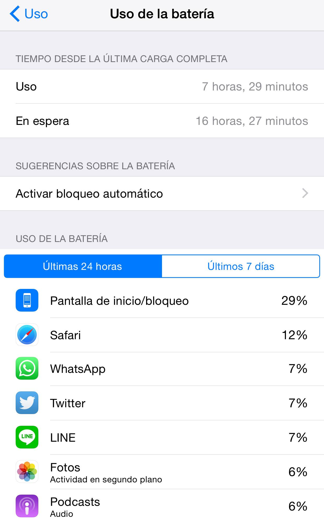 Uso de la batería en iOS