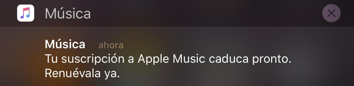 Notificación pidiendo suscripción a Apple Music