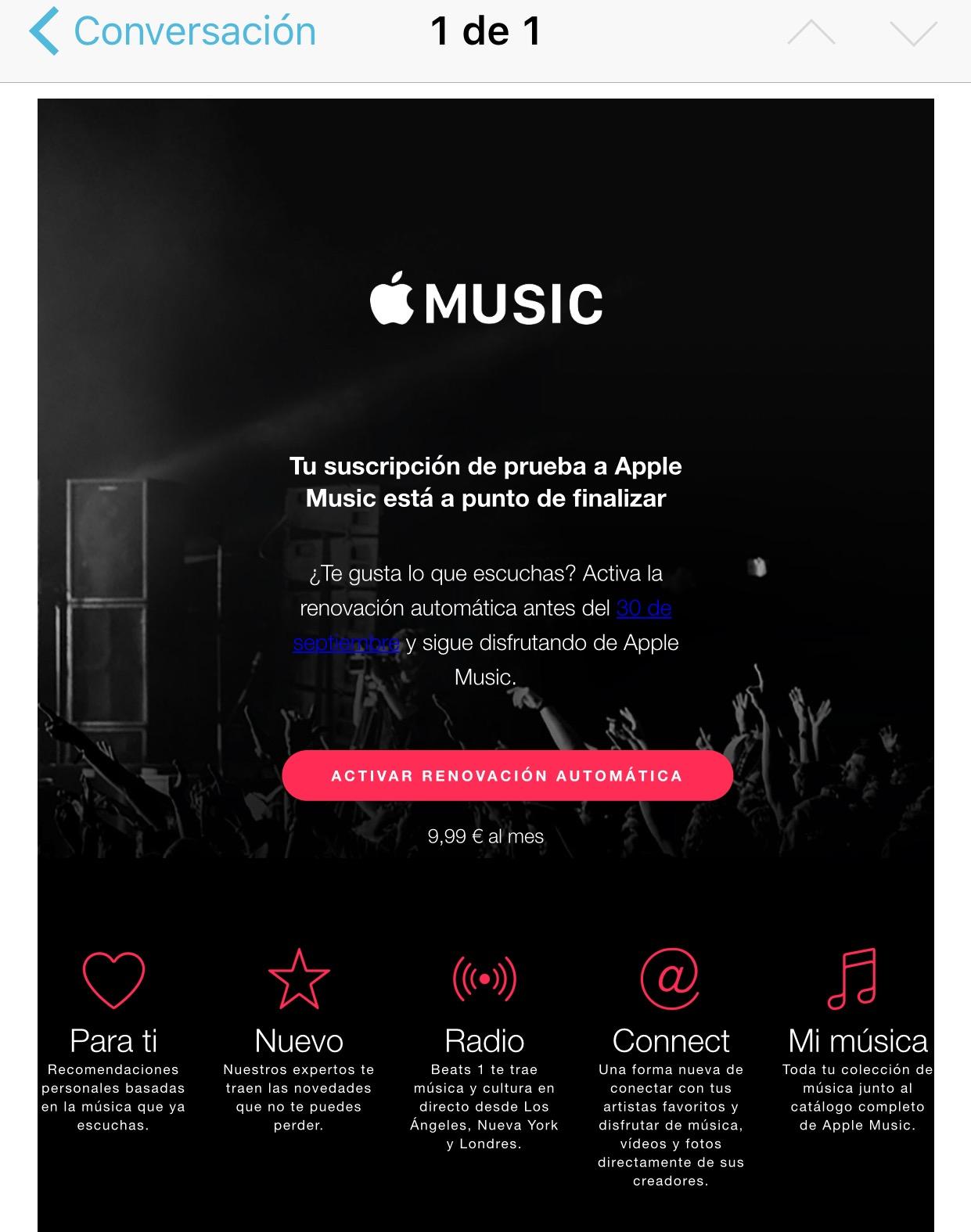 Email pidiendo mantener la suscripción a Apple Music