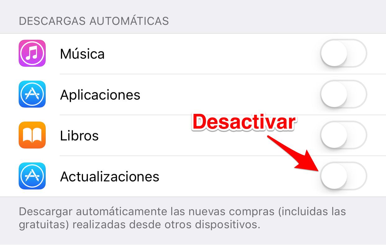 Desactivar opción