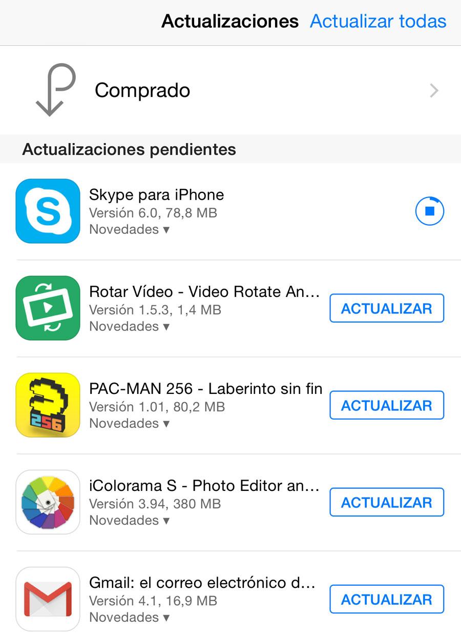 Apps actualizándose