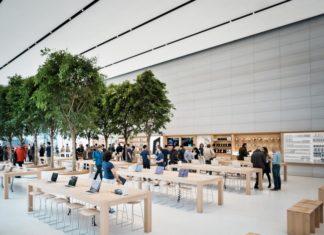 Árboles en la Apple Store de Bruselas