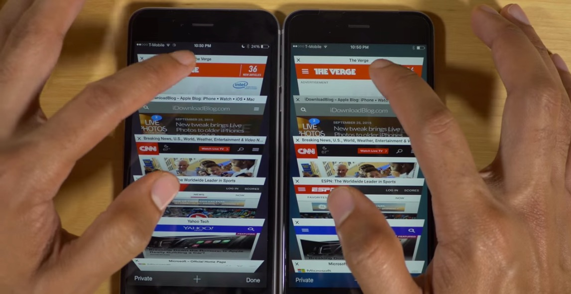 iPhone 6 vs 6S con 2 GB de RAM