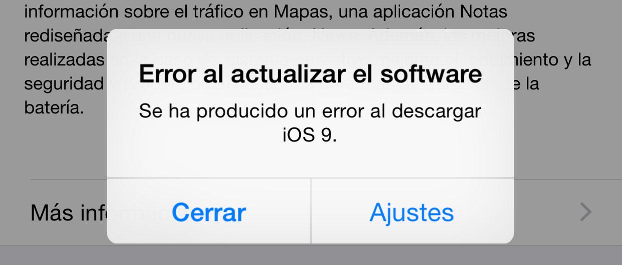 Error al actualizar a iOS 9