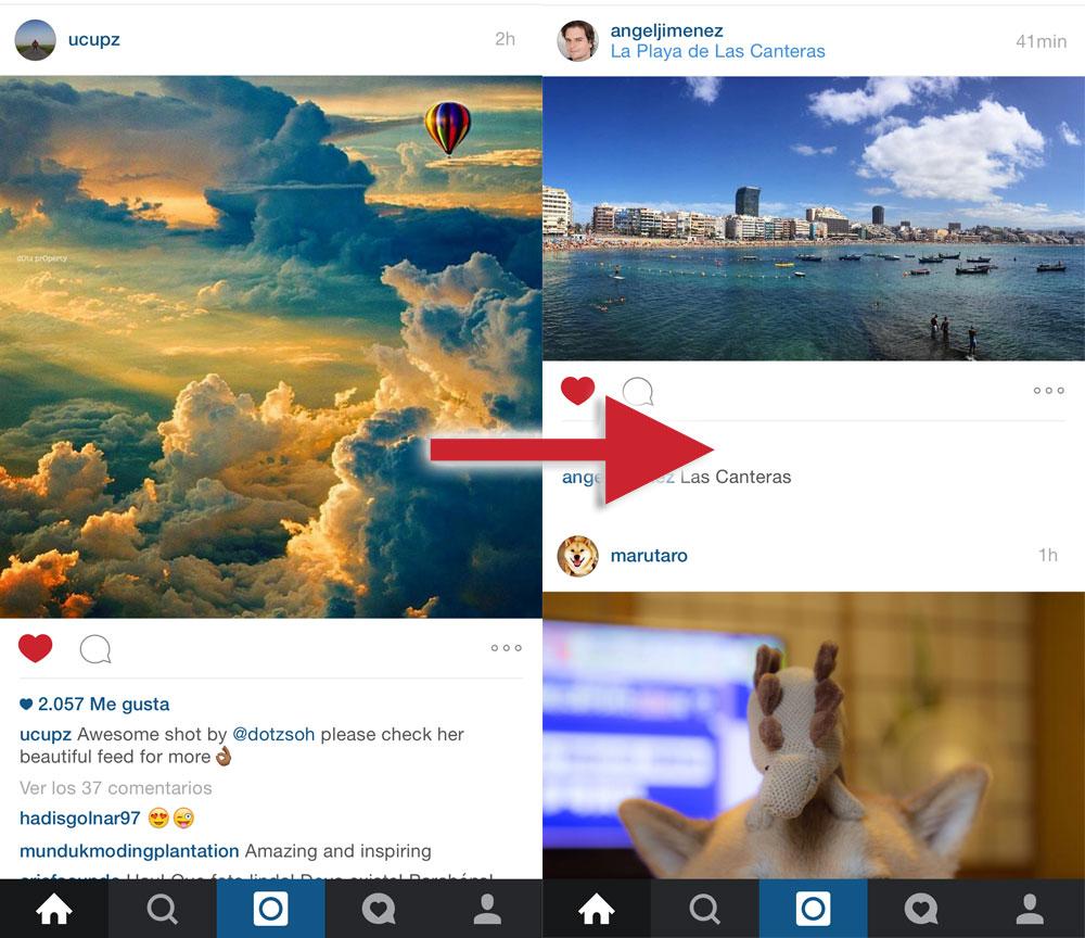 Instagram sin fotos cuadradas