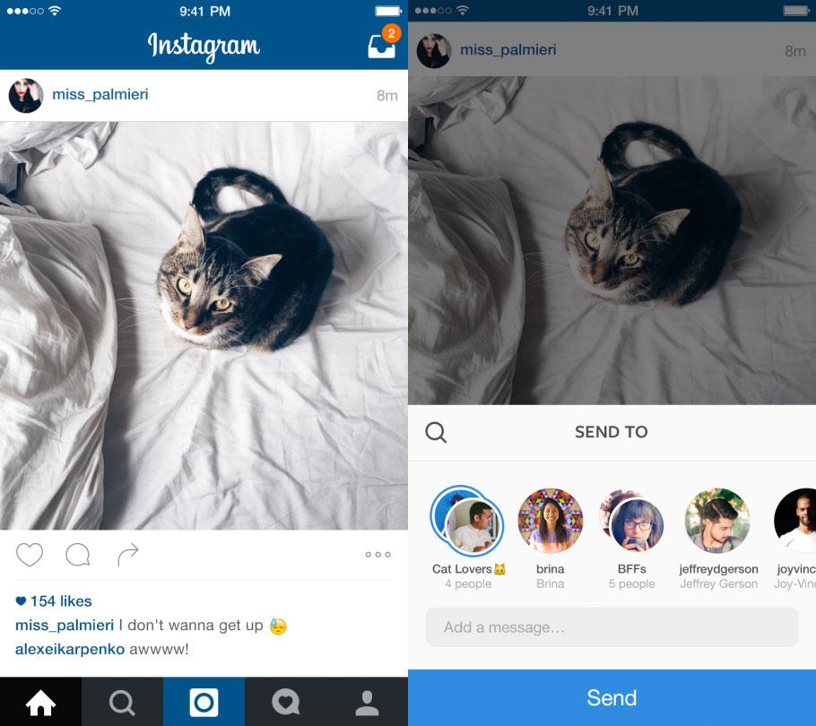 Mensajes privados directos en Instagram