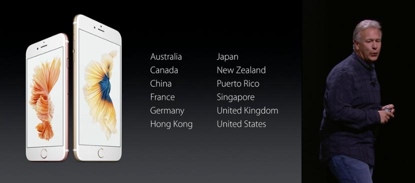 Países de lanzamiento del iPhone 6S