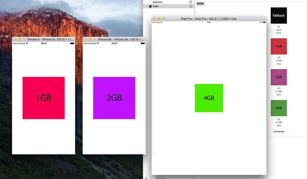 Memoria RAM que reporta Xcode