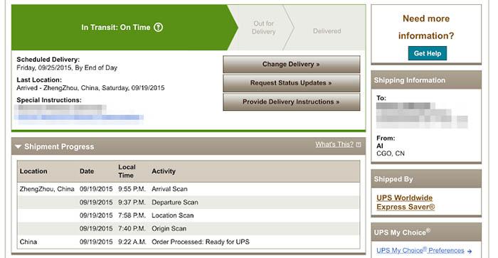 iPhone 6S enviado desde ZhengZhou en China