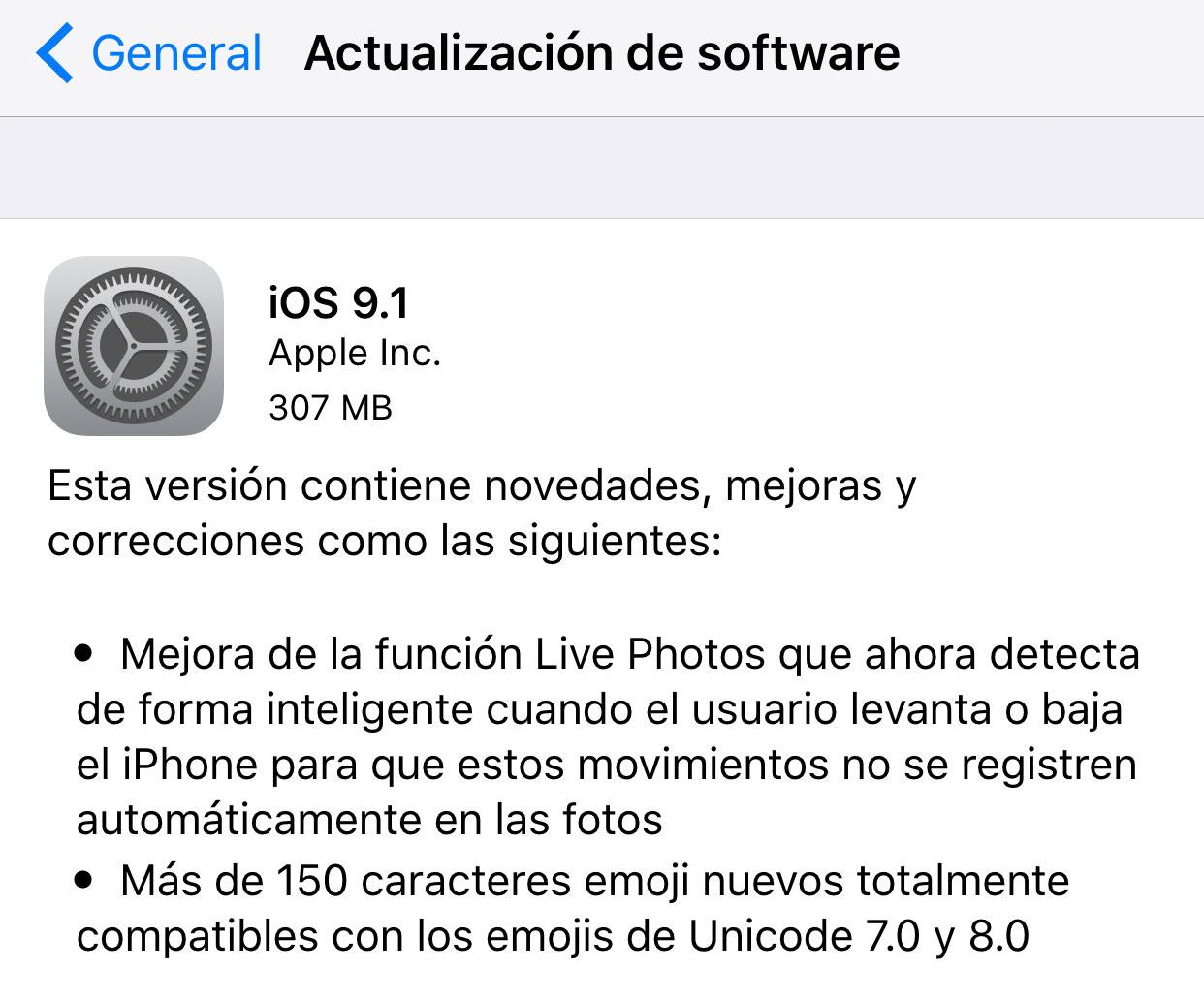 Actualización a iOS 9.1