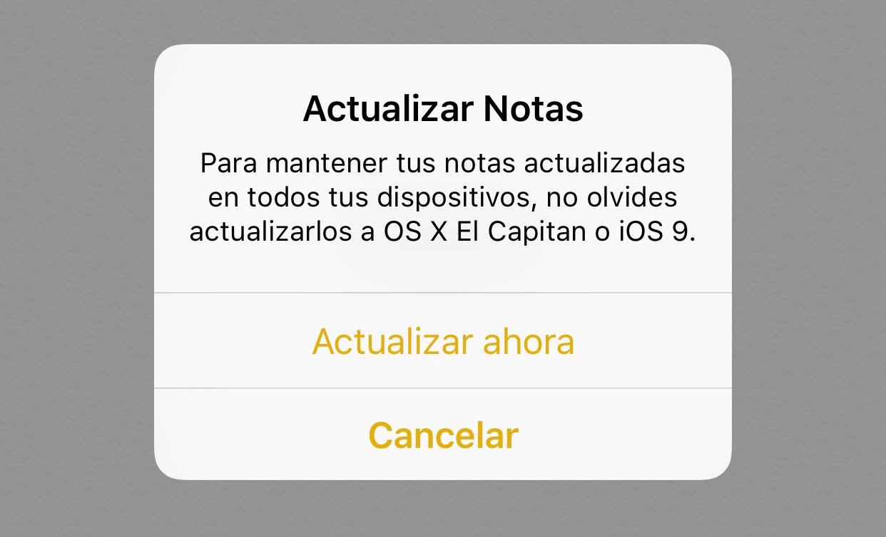 Mensaje de actualización de la App de Notas