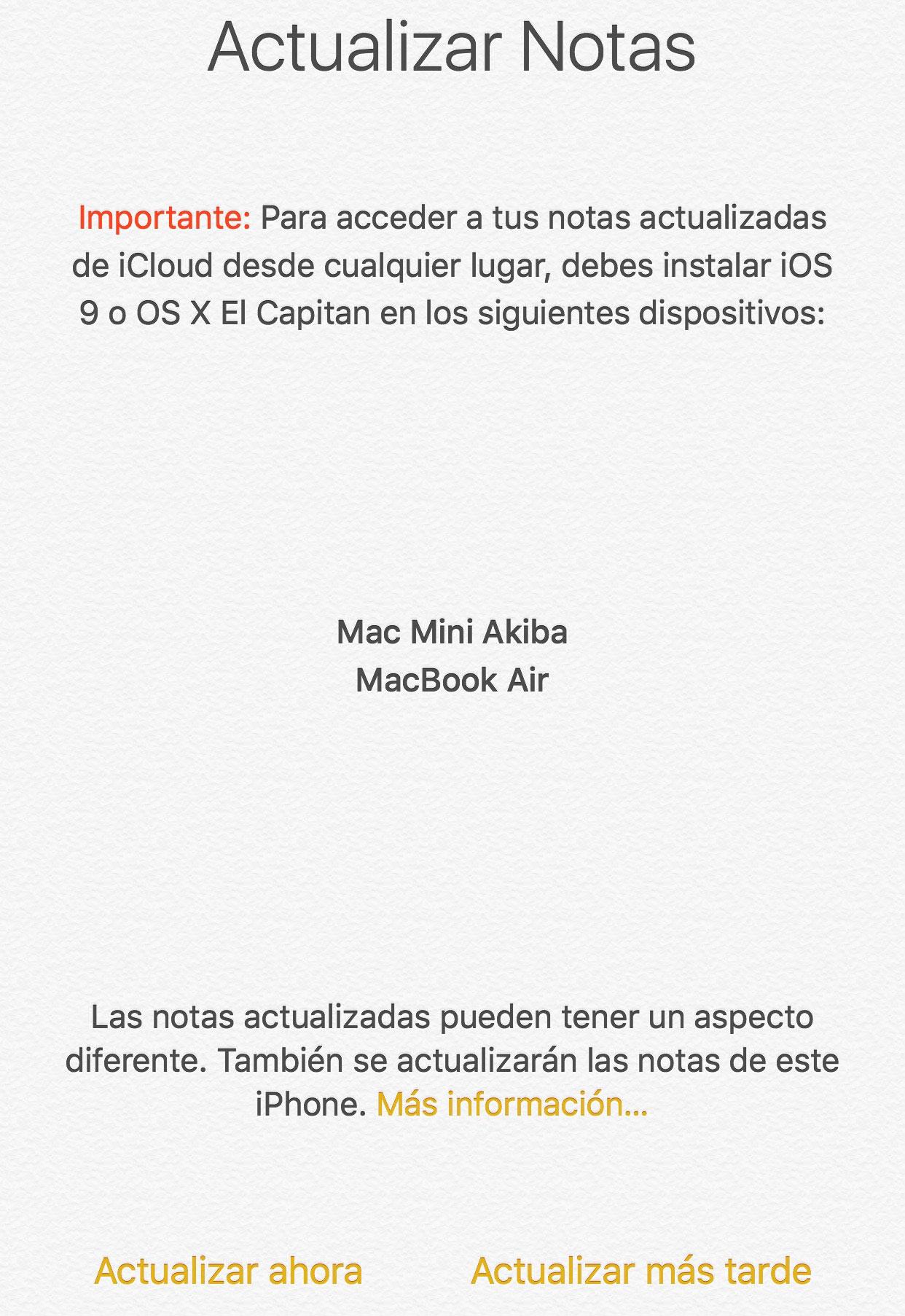 Actualizar base de datos de la App de Notas en iOS 9
