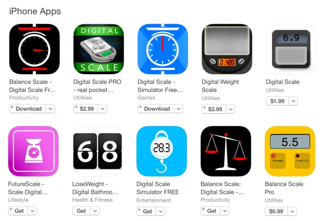 Apps de básculas falsas