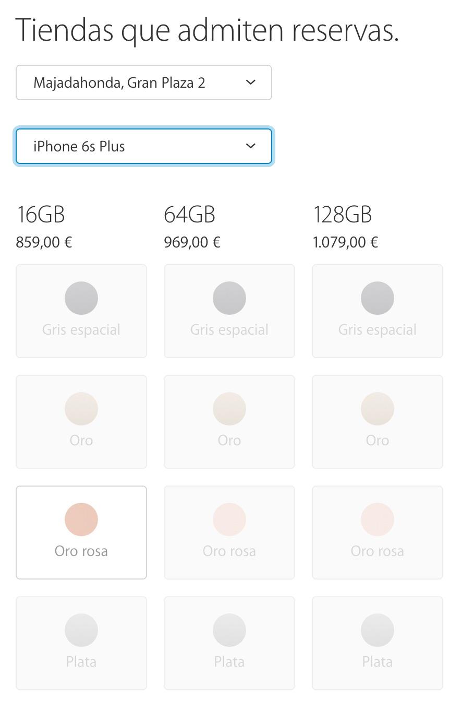 Casi todos los iPhone 6S Plus agotados