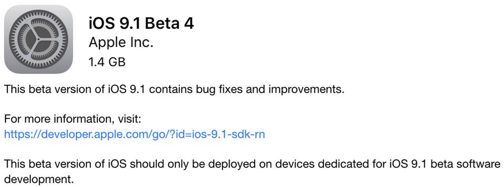 iOS 9.1 beta 4