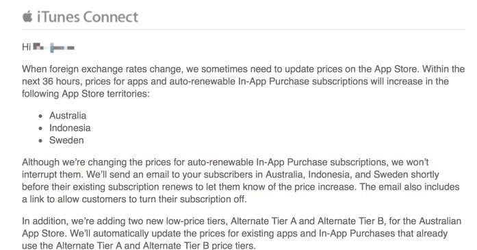 Apple informa de la subida de precios