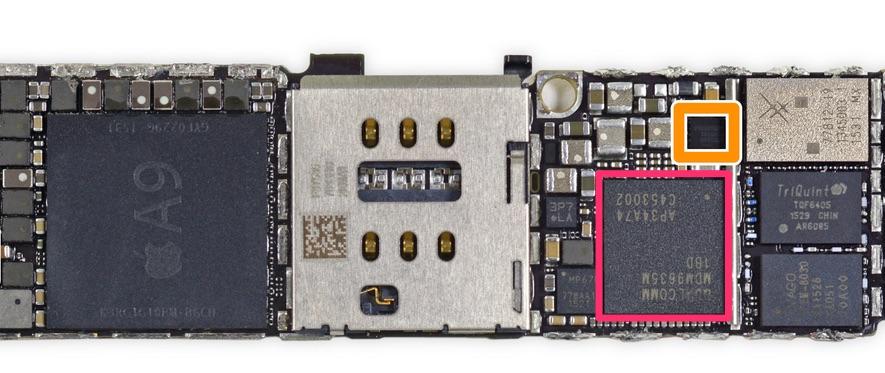 Módem Quallcomm en la placa base del iPhone 6S