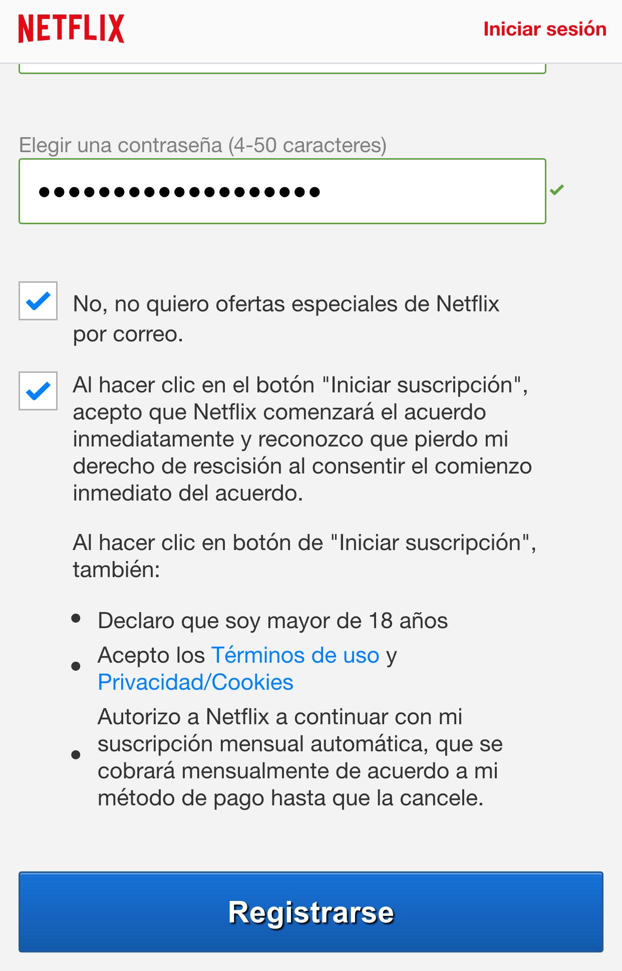 Suscripción a Netflix en España