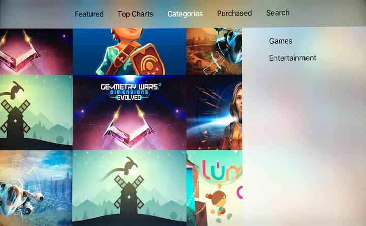 Categorías de la App Store del Apple TV