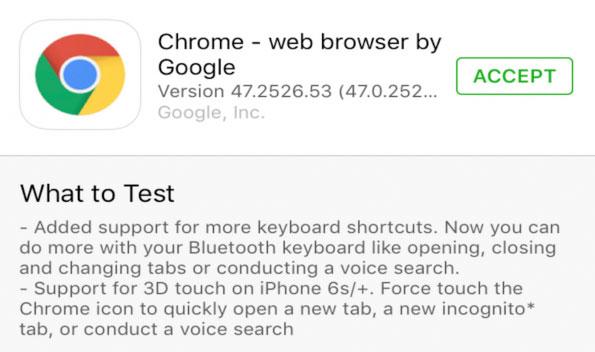 Beta de Chrome TestFlight